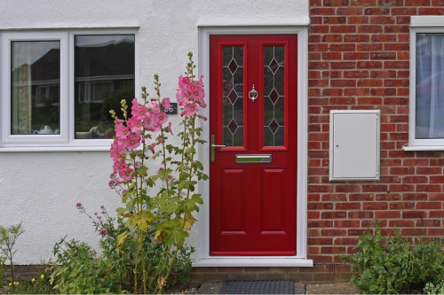 bright red door by gillingham glass & glazing