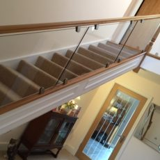 Glass and wood banister